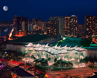 Aerial View of the Hawaii Convention Center at night